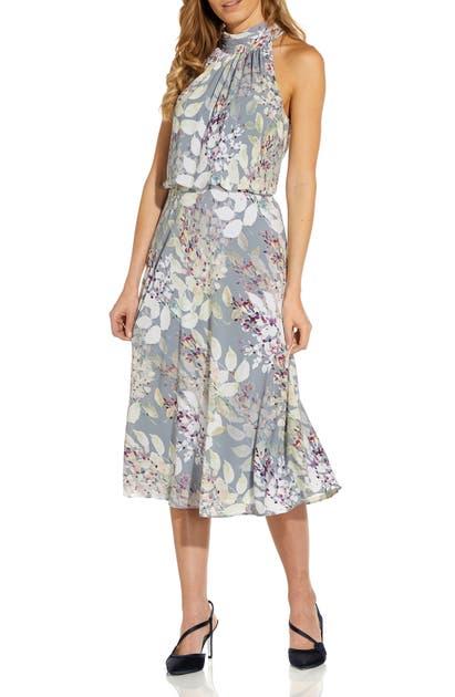 Adrianna Papell Midi dresses WATERCOLOR FLORAL HALTER NECK CHIFFON MIDI DRESS
