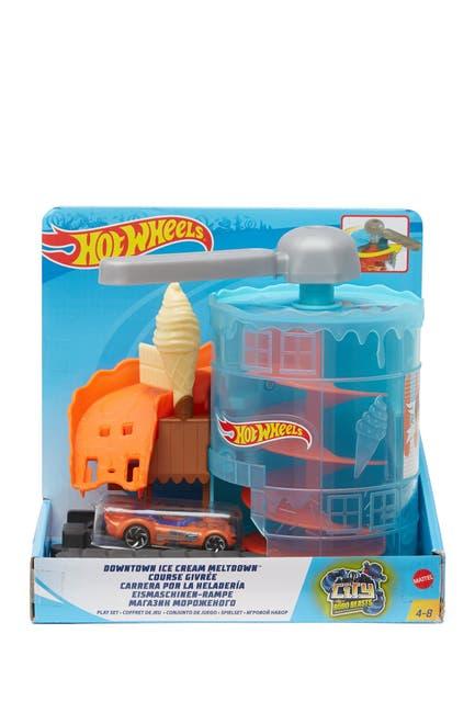 Image of Mattel Hot Wheels(R) Downtown Ice Cream Meltdown Play Set