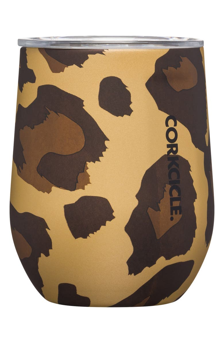 CORKCICLE Stemless Insulated Wine Glass, Main, color, LUXE LEOPARD