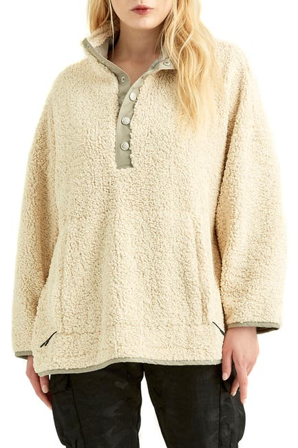 Image of Boundless North Faux Shearling Quarter Button Pullover
