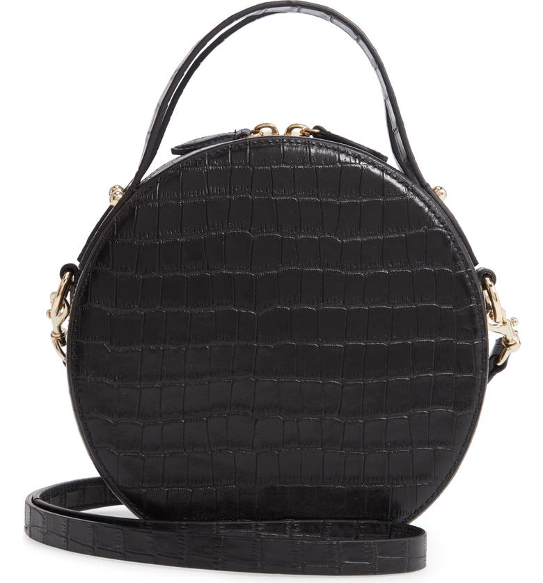 REBECCA MINKOFF Jody Croc Embossed Leather Circle Crossbody Bag, Main, color, BLACK