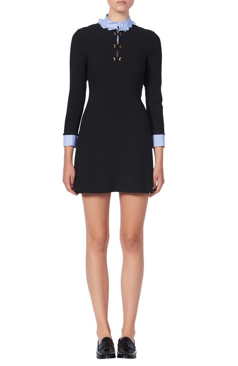 SANDRO Delna Poplin Trim Long Sleeve Knit Minidress, Main, color, BLACK