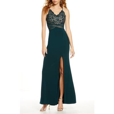 Morgan & Co. Lace & Mesh Gown, Green