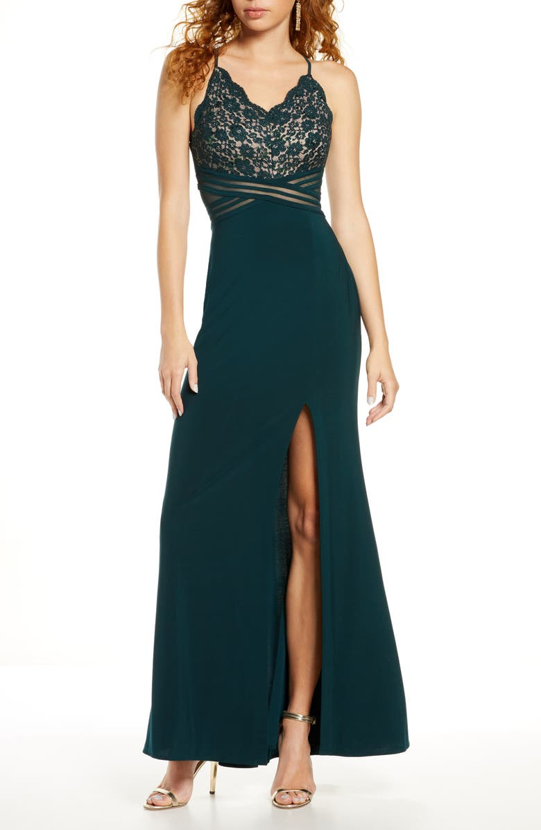 MORGAN & CO. Lace & Mesh Gown, Main, color, HUNTER/ NUDE