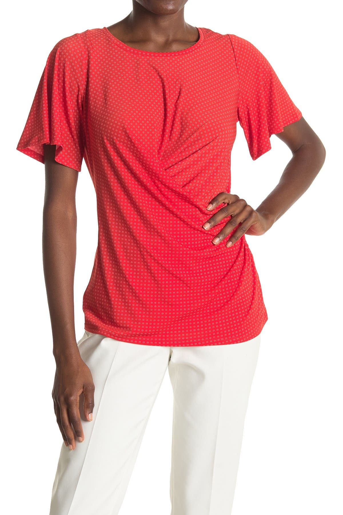 Image of Chaus Flutter Sleeve Wrap Top