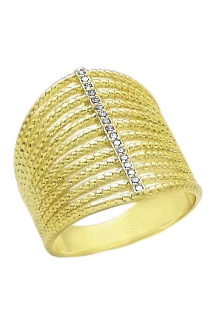Image of Savvy Cie 14K Yellow Gold Plated Sterling Silver Pave CZ Multi Band Ring