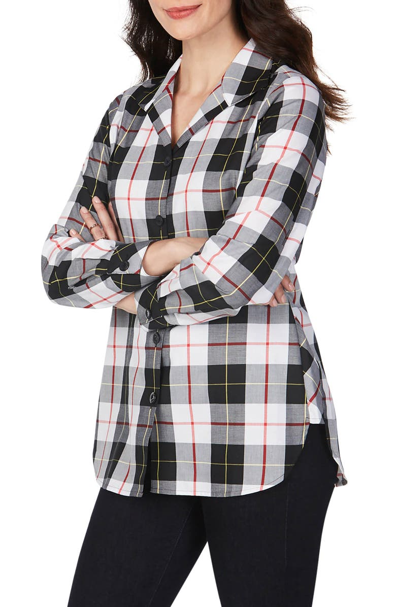 FOXCROFT Pandora Sinclair Tartan Wrinkle-Free Tunic Shirt, Main, color, WINTER WHITE
