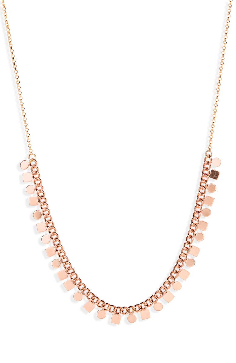 SEREFINA Sultry Geometric Disc Necklace, Main, color, ROSE