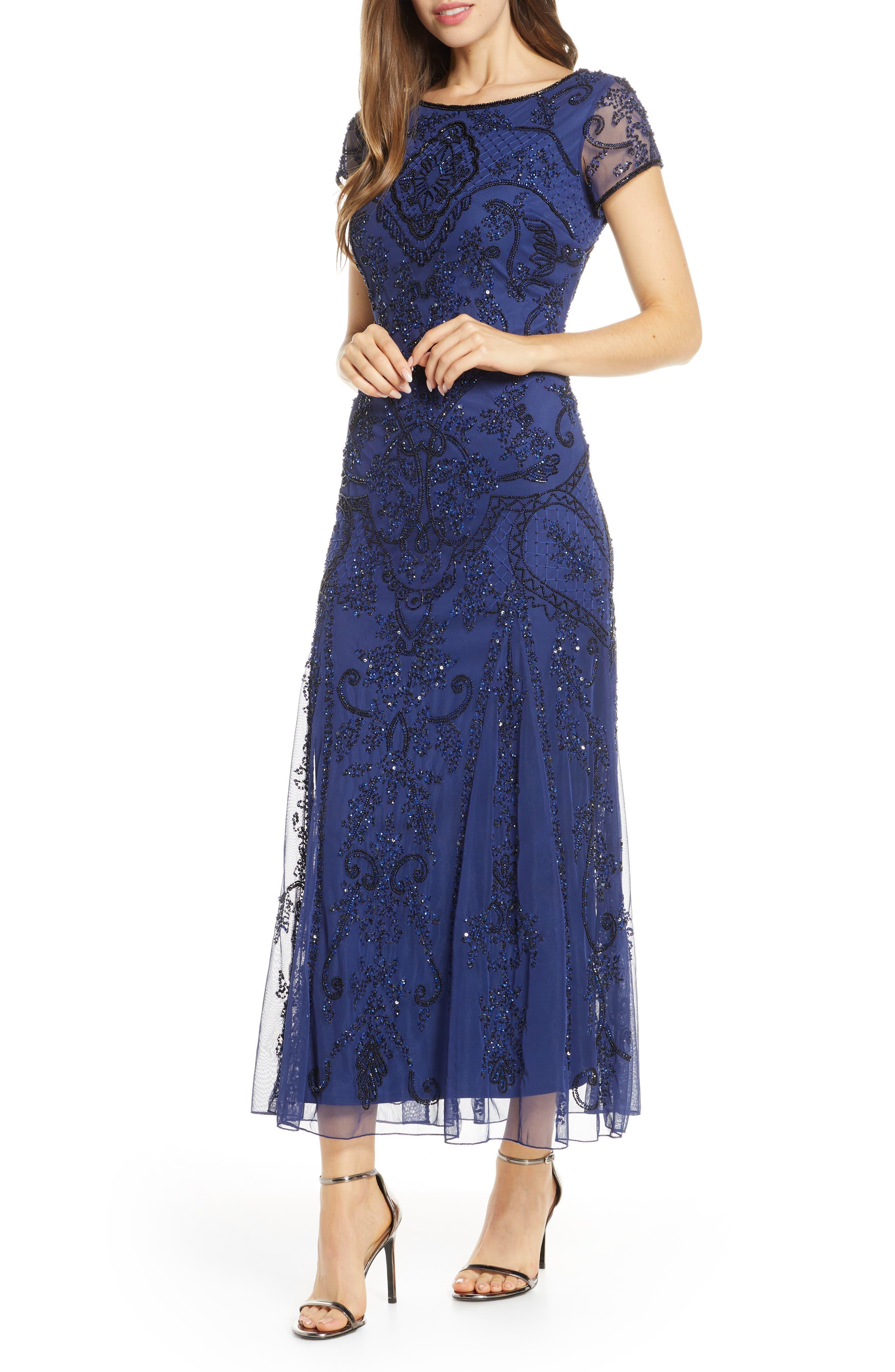 1930s Evening Dresses | Old Hollywood Silver Screen Dresses Womens Pisarro Nights Embellished Mesh Gown Size 8 - Blue $238.00 AT vintagedancer.com