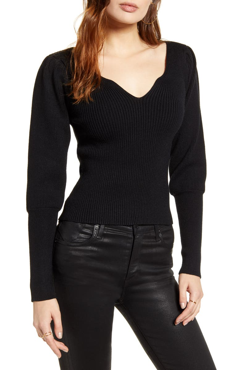 ASTR THE LABEL Marina Sweater, Main, color, BLACK