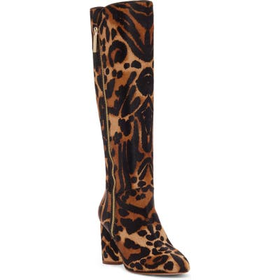 Louise Et Cie Zenia Genuine Calf Hair Knee High Boot, Brown