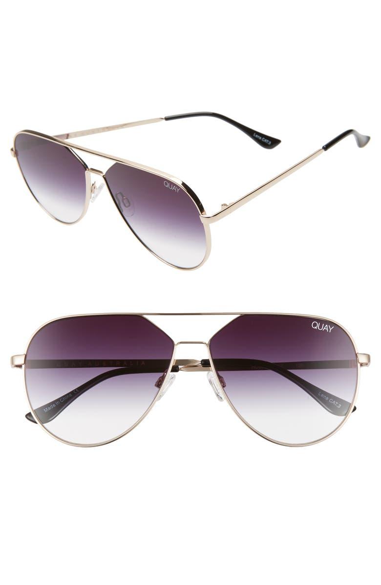 QUAY AUSTRALIA x Lizzo Hold Please 55mm Aviator Sunglasses, Main, color, GOLD/ FADE