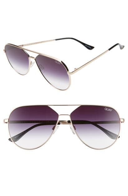 Quay X Lizzo Hold Please 55mm Aviator Sunglasses In Gold/ Fade