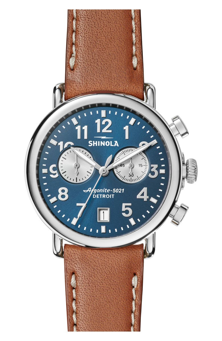SHINOLA The Runwell Chronograph Leather Strap Watch, 41mm, Main, color, TAN/ MIDNIGHT BLUE/ SILVER