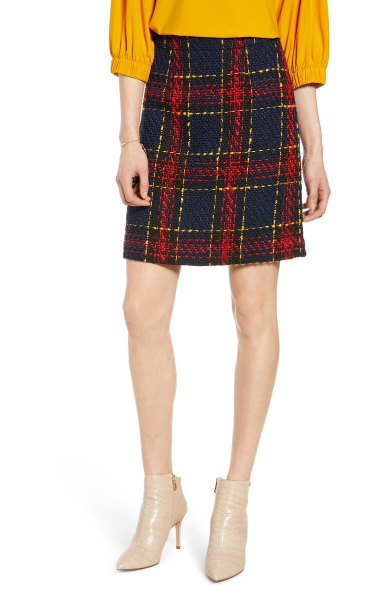 HALOGEN<SUP>®</SUP> Tweed Miniskirt, Main, color, BLACK MULTI TWEED