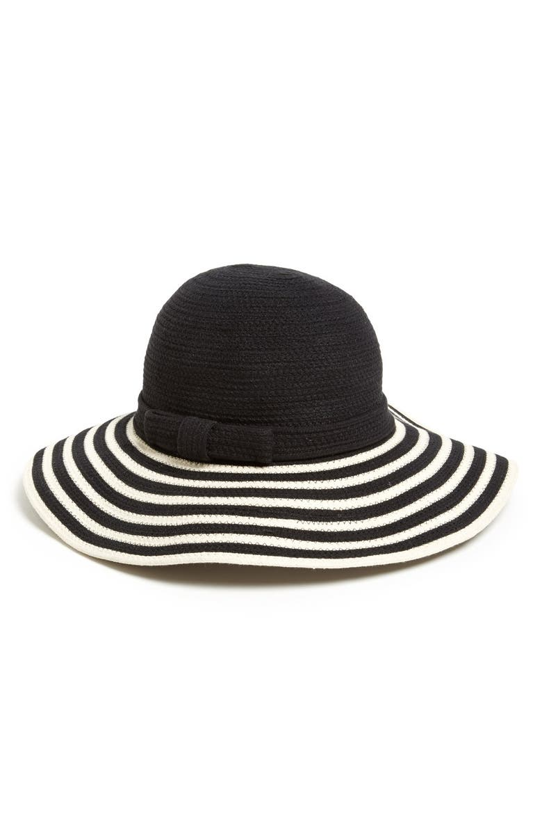 KATE SPADE NEW YORK stripe sun hat, Main, color, 001