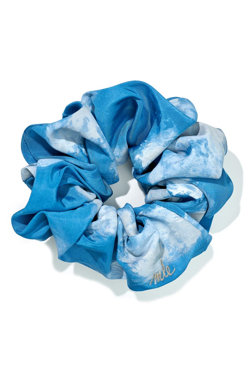MLE Sky Silk Scrunchie, Main, color, BLUE