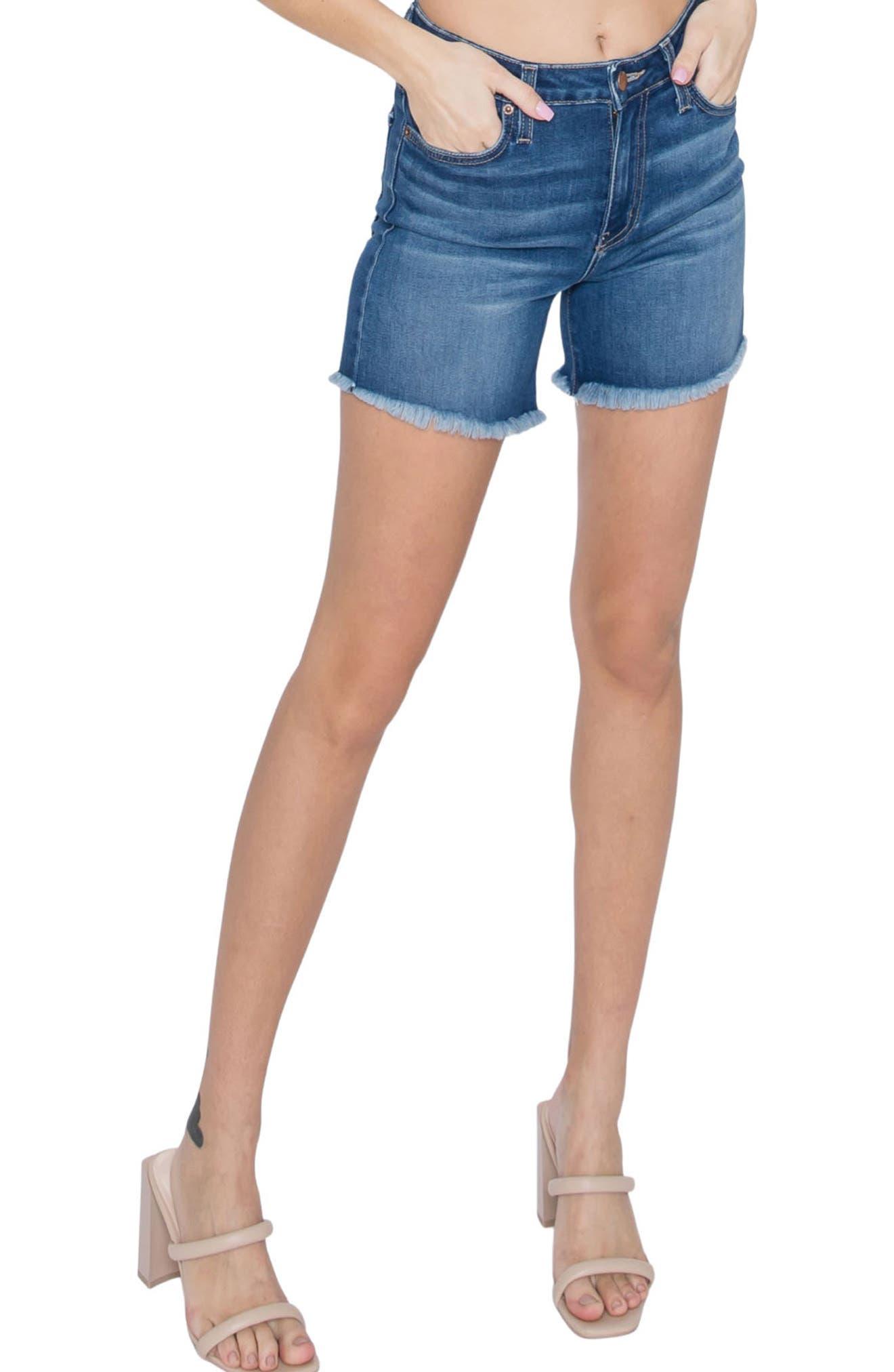 High Waist Fringe Hem Denim Shorts