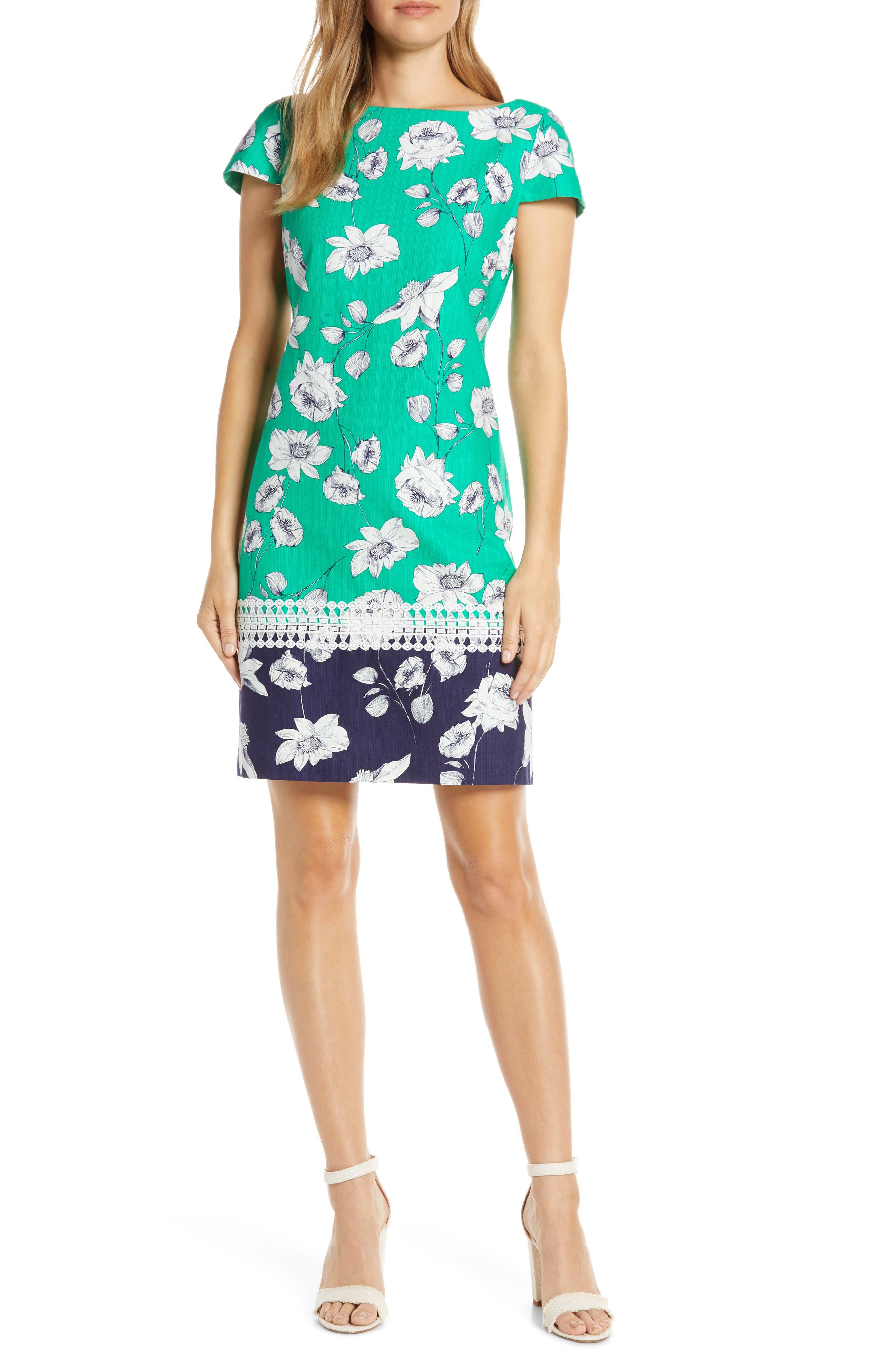 Petite Eliza J Floral Print Stretch Cotton Shift Dress, Green
