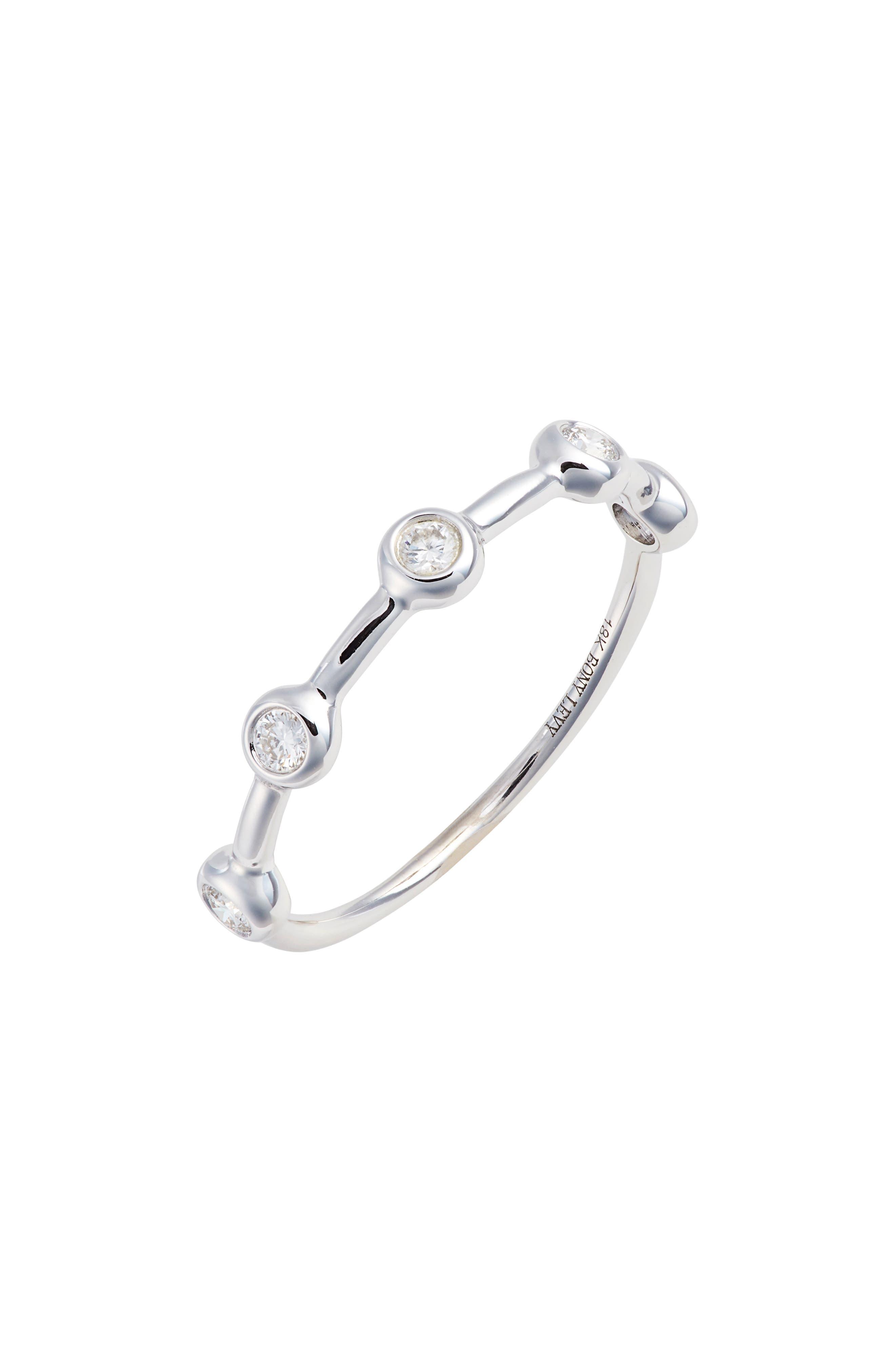 Image of Bony Levy 18K White Gold Moncao Bezel Diamond Ring - 0.15 ctw - Size 6.5