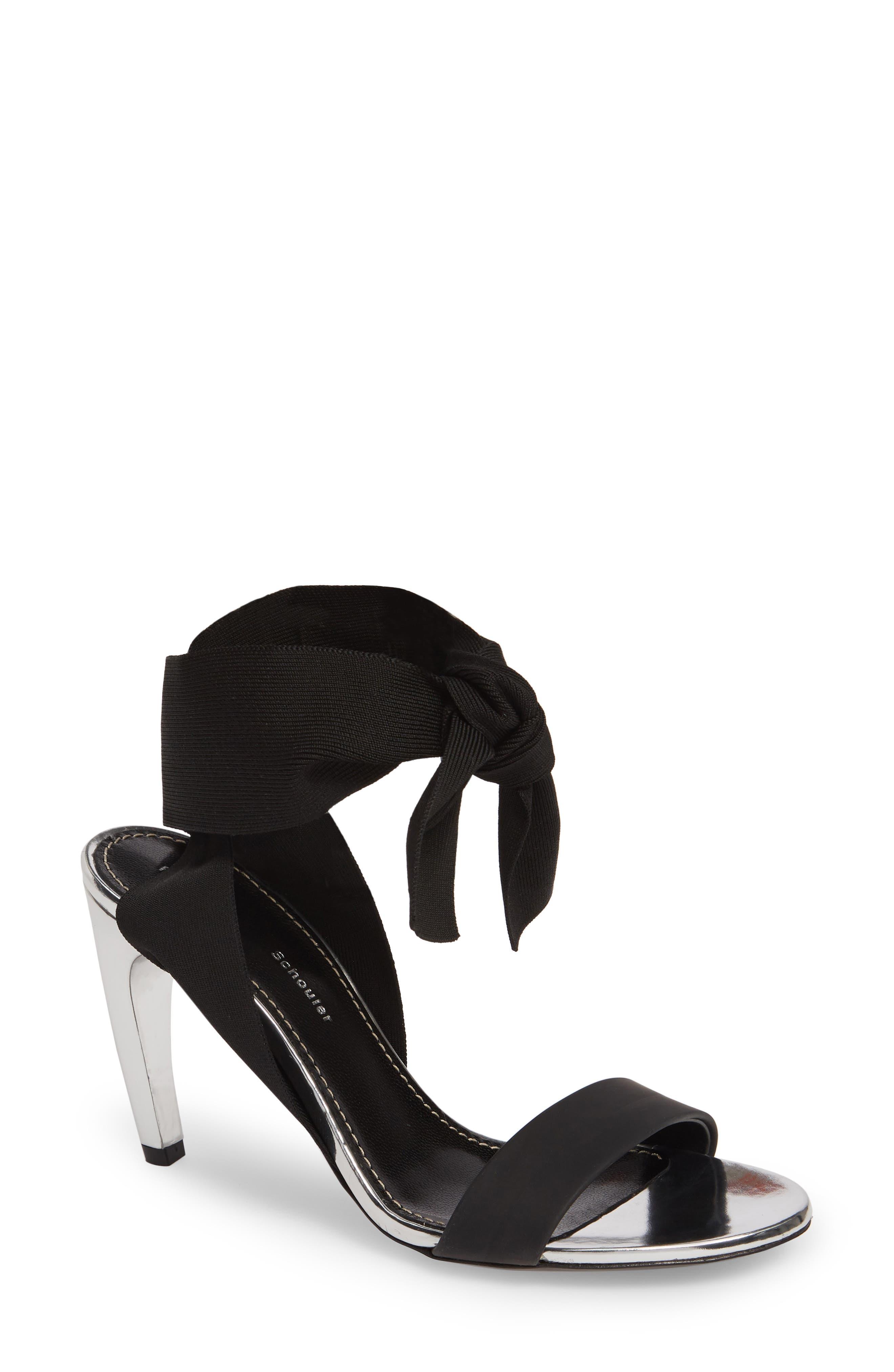 Proenza Schouler Ankle Wrap Sandal, Black