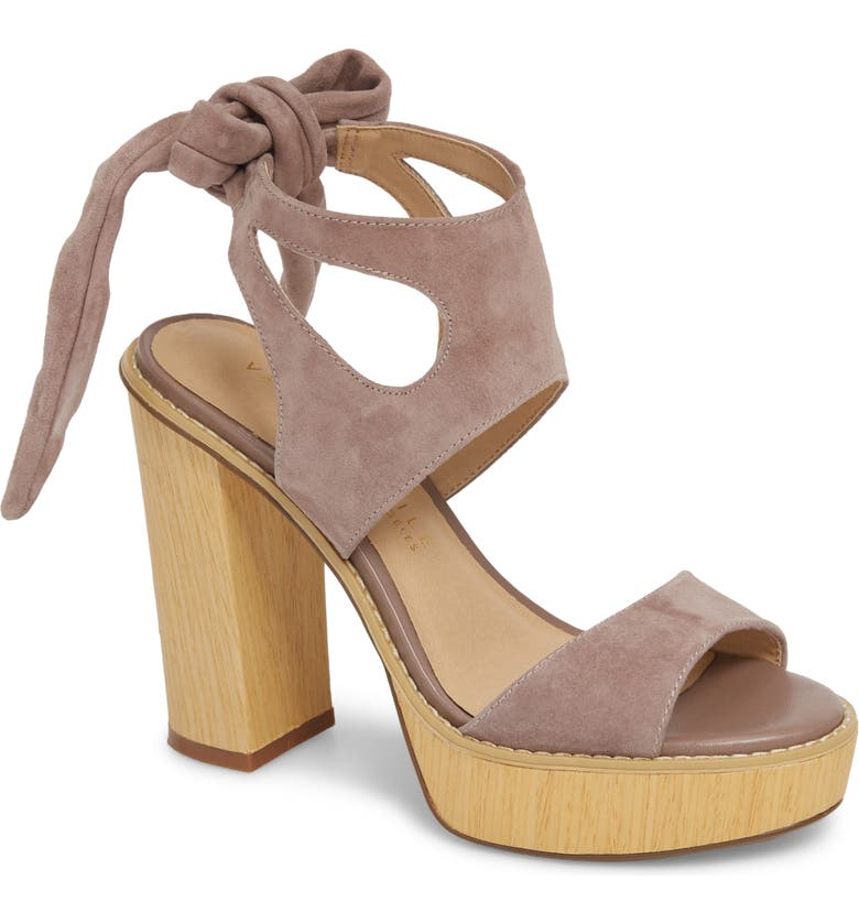 VERY VOLATILE Ginsy Tie Back Platform Sandal, Main, color, TAUPE