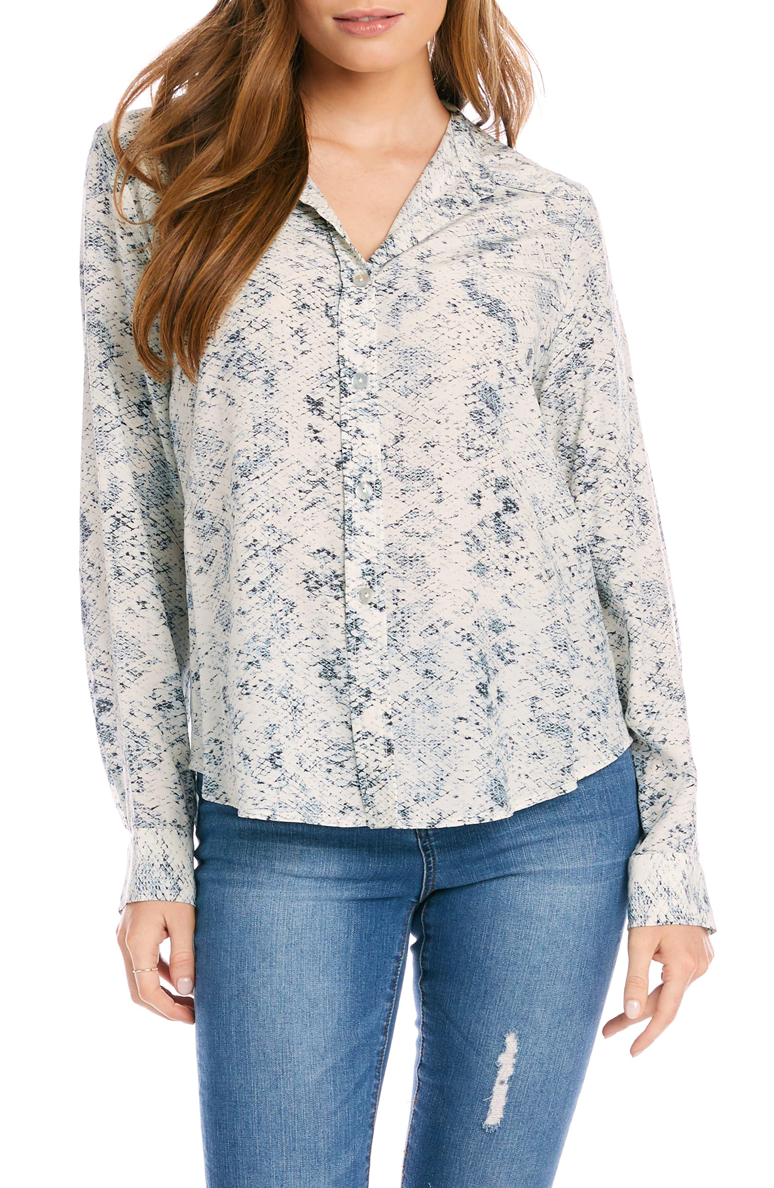 Snakeskin Print Button-Up Shirt