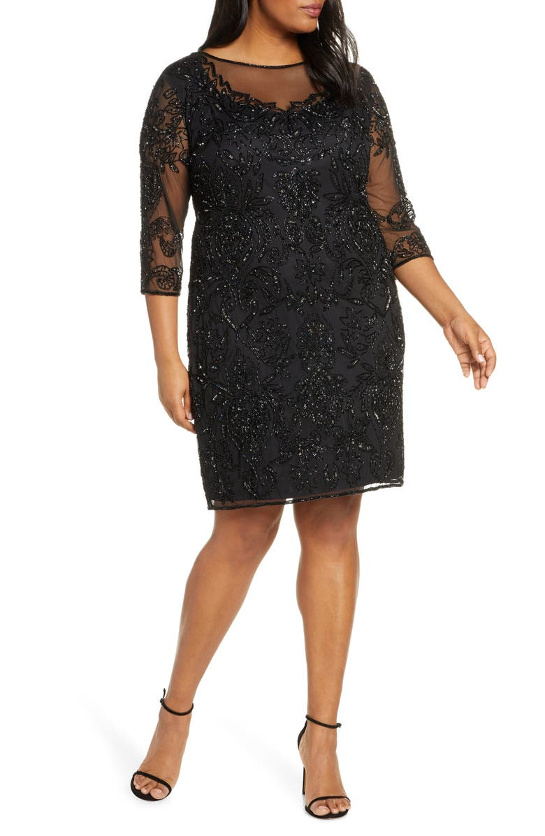 PISARRO NIGHTS Embellished Mesh Sheath Dress, Main, color, BLACK/ MERCURY