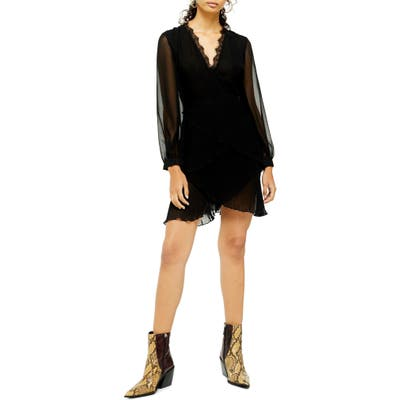 Topshop Long Sleeve Pleat Minidress, US (fits like 6-8) - Black