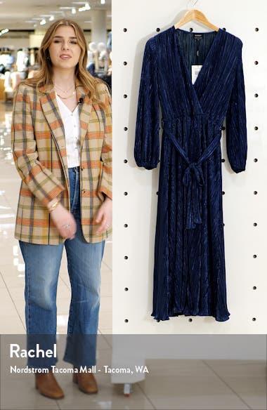 Melissa Long Sleeve Plissé Faux Wrap Midi Dress, sales video thumbnail