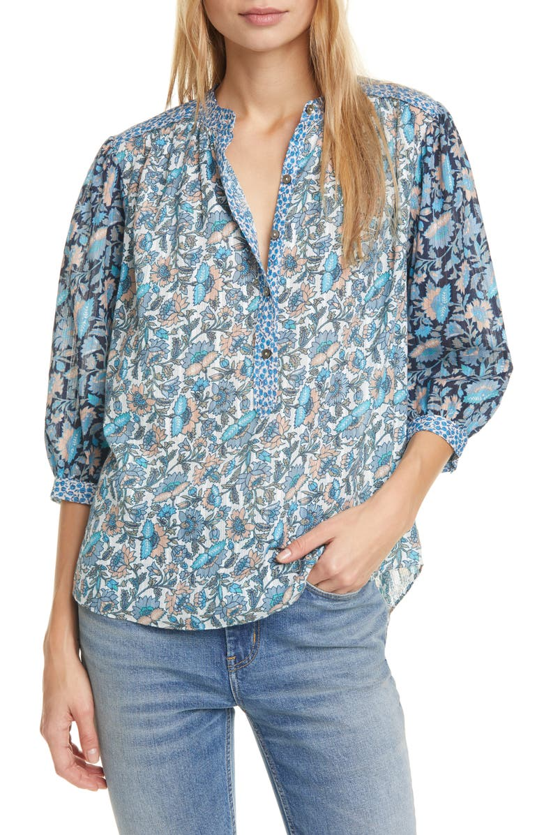 LA VIE REBECCA TAYLOR Mix Floral Print Top, Main, color, MULTI COMBO