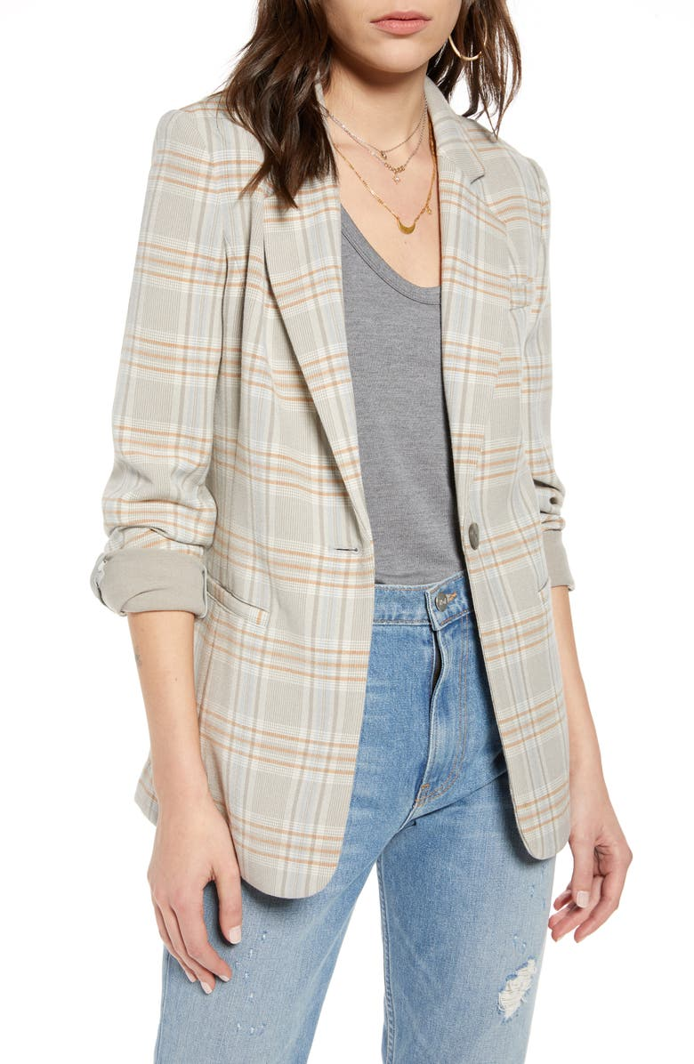 TREASURE & BOND Menswear Plaid Blazer, Main, color, GREY FLINT DESCHUTES PLAID