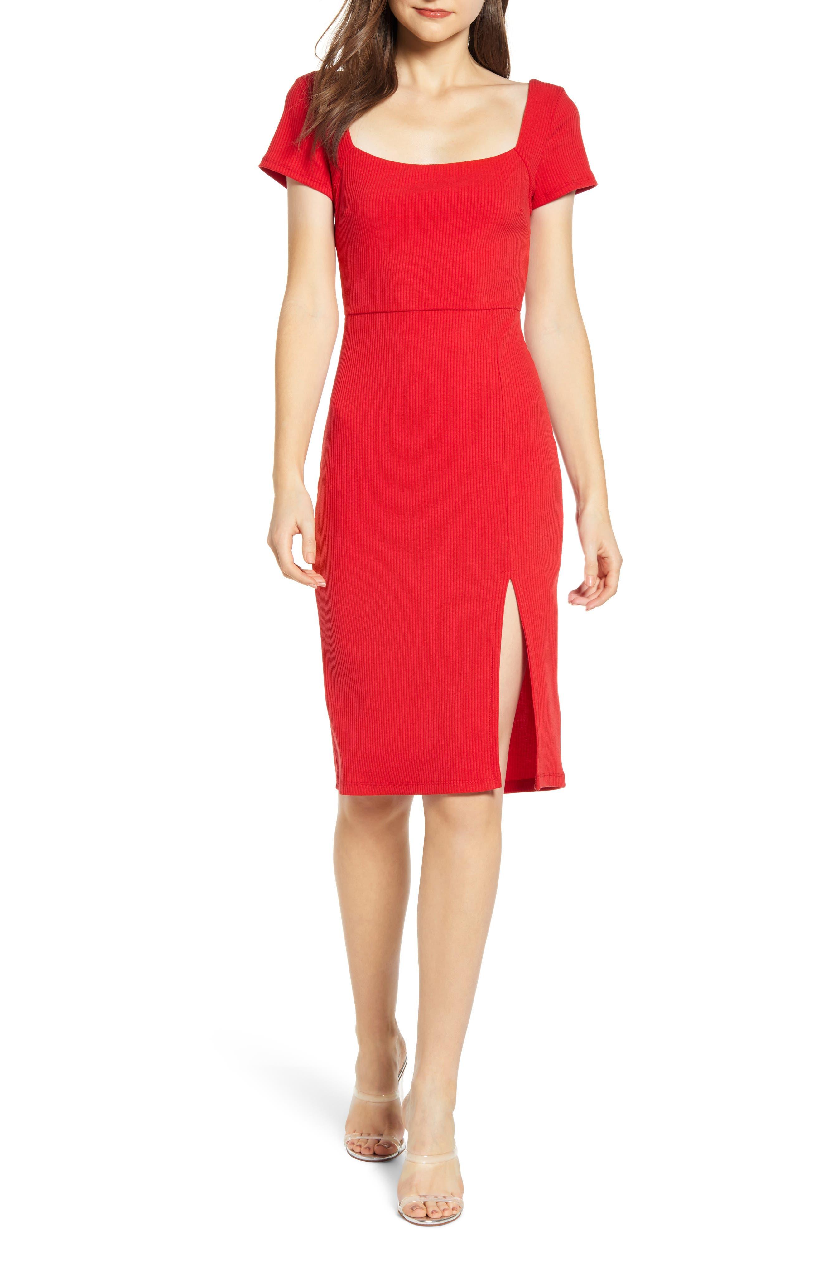 All In Favor Ribbed Square Neck Midi Dress, Red