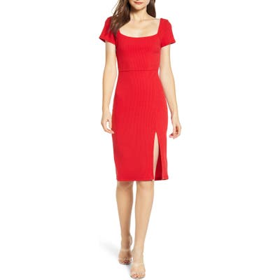 All In Favor Ribbed Square Neck Dress, Red