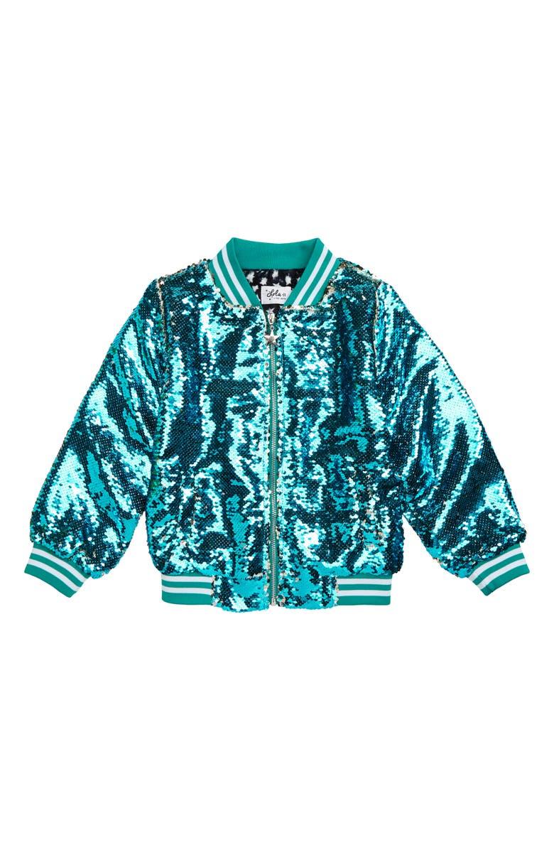 LOLA & THE BOYS Rainbow Love Sequin Bomber Jacket, Main, color, BLUE