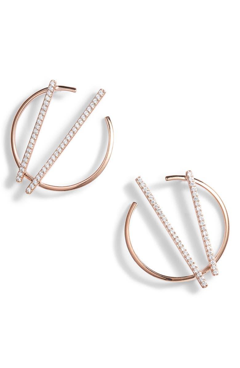 NADRI Neo Geo Hoop Earrings, Main, color, ROSE GOLD