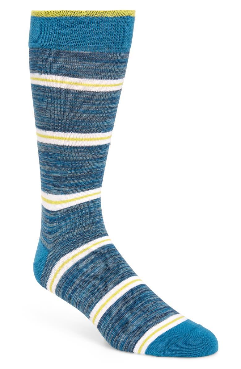 TED BAKER LONDON Ibaris Stripe Socks, Main, color, TEAL