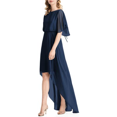 Jenny Packham Flutter Sleeve High/low Chiffon Gown, Blue