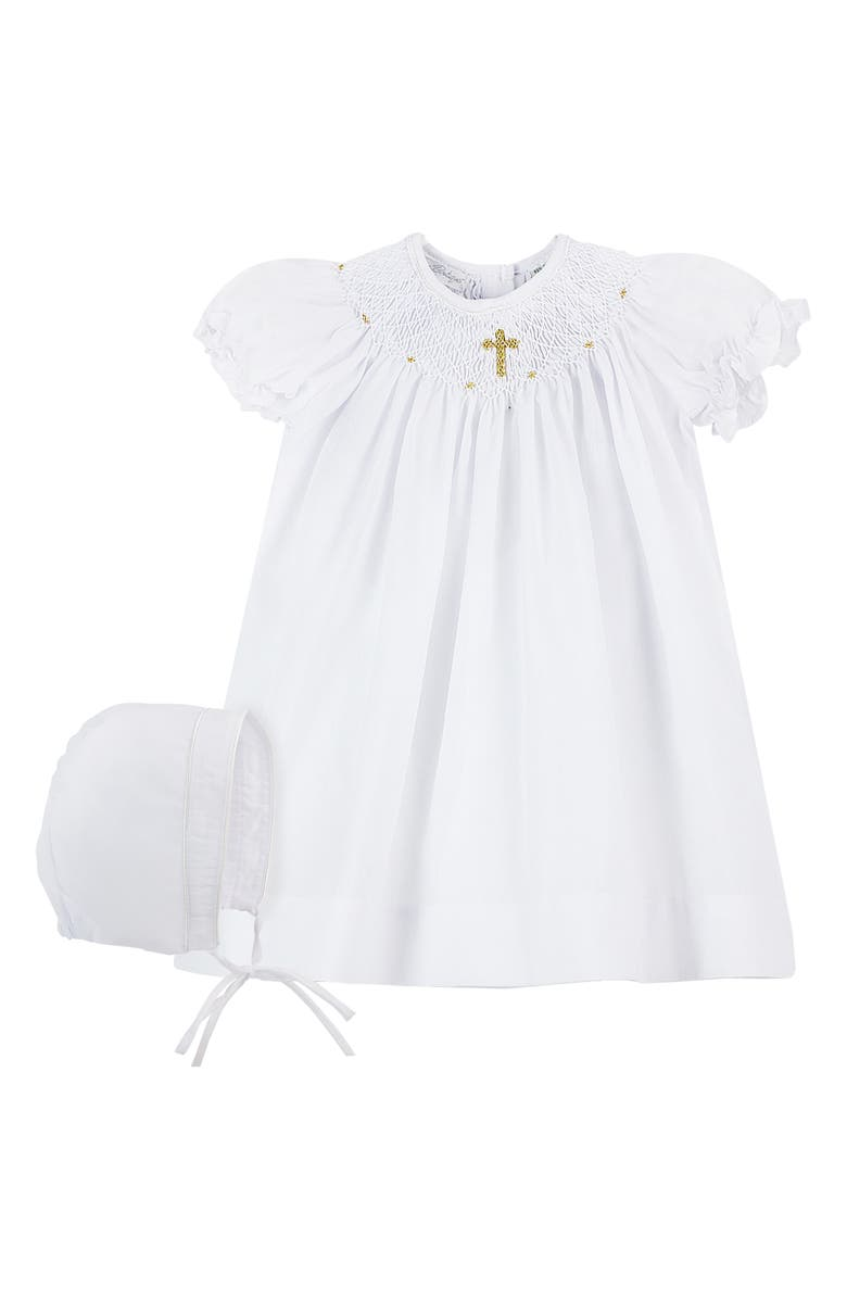 CARRIAGE BOUTIQUE Christening Gown & Bonnet Set, Main, color, WHITE