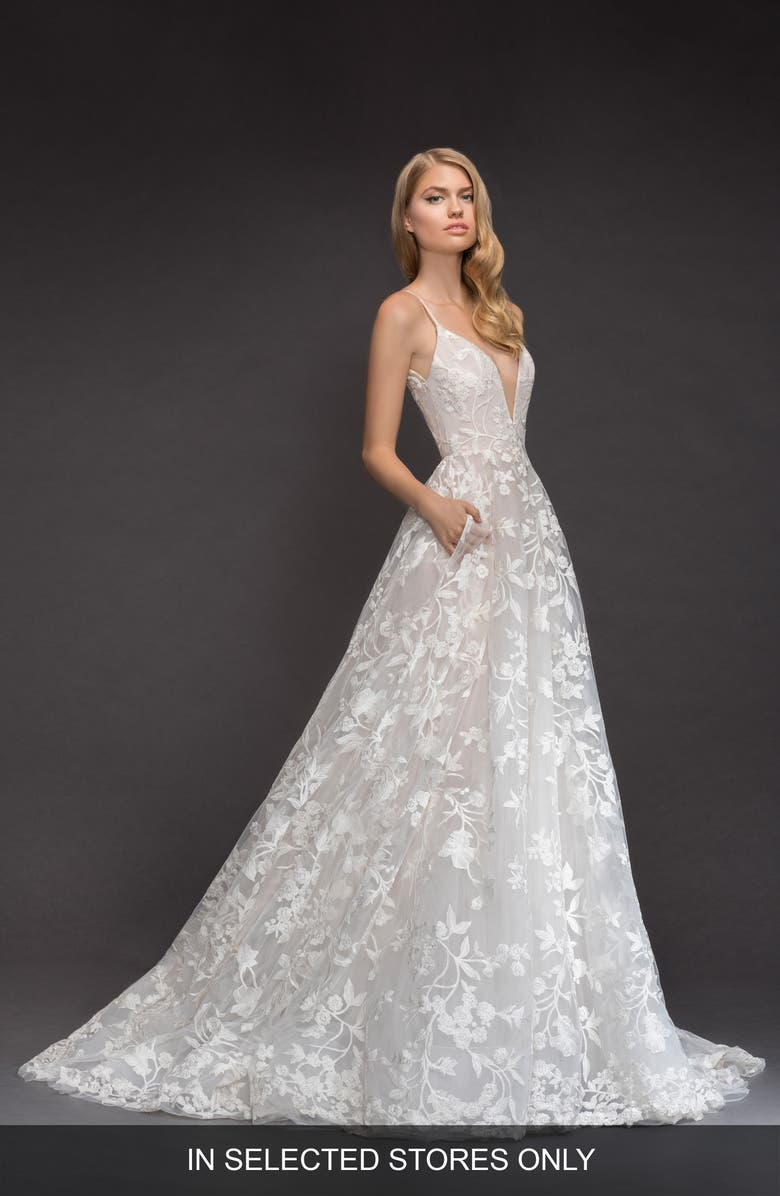 BLUSH BY HAYLEY PAIGE Fleur de Lis Embroidered Tulle Ballgown, Main, color, IVORY