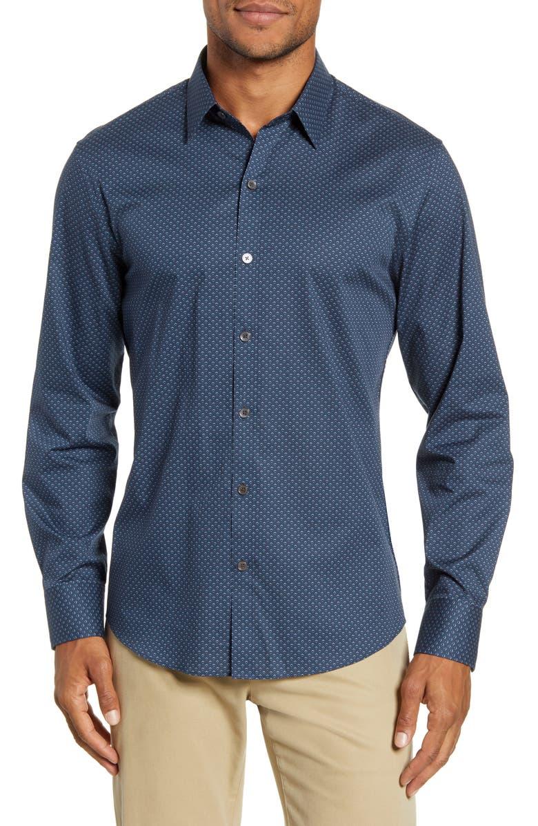 ZACHARY PRELL Reimann Regular Fit Stretch Button-Up Sport Shirt, Main, color, NAVY