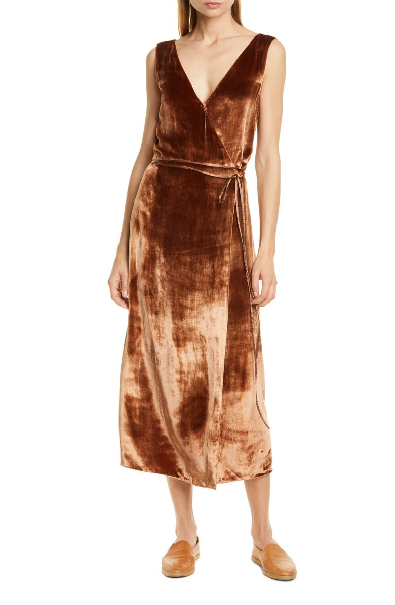VINCE Pann Velvet Wrap Midi Dress, Main, color, 689