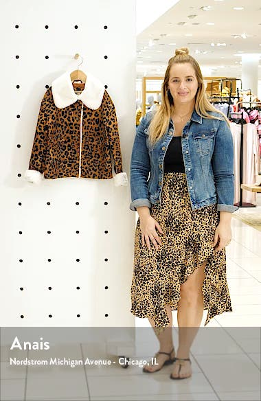 Leopard Print Corduroy Jacket with Faux Fur Trim, sales video thumbnail