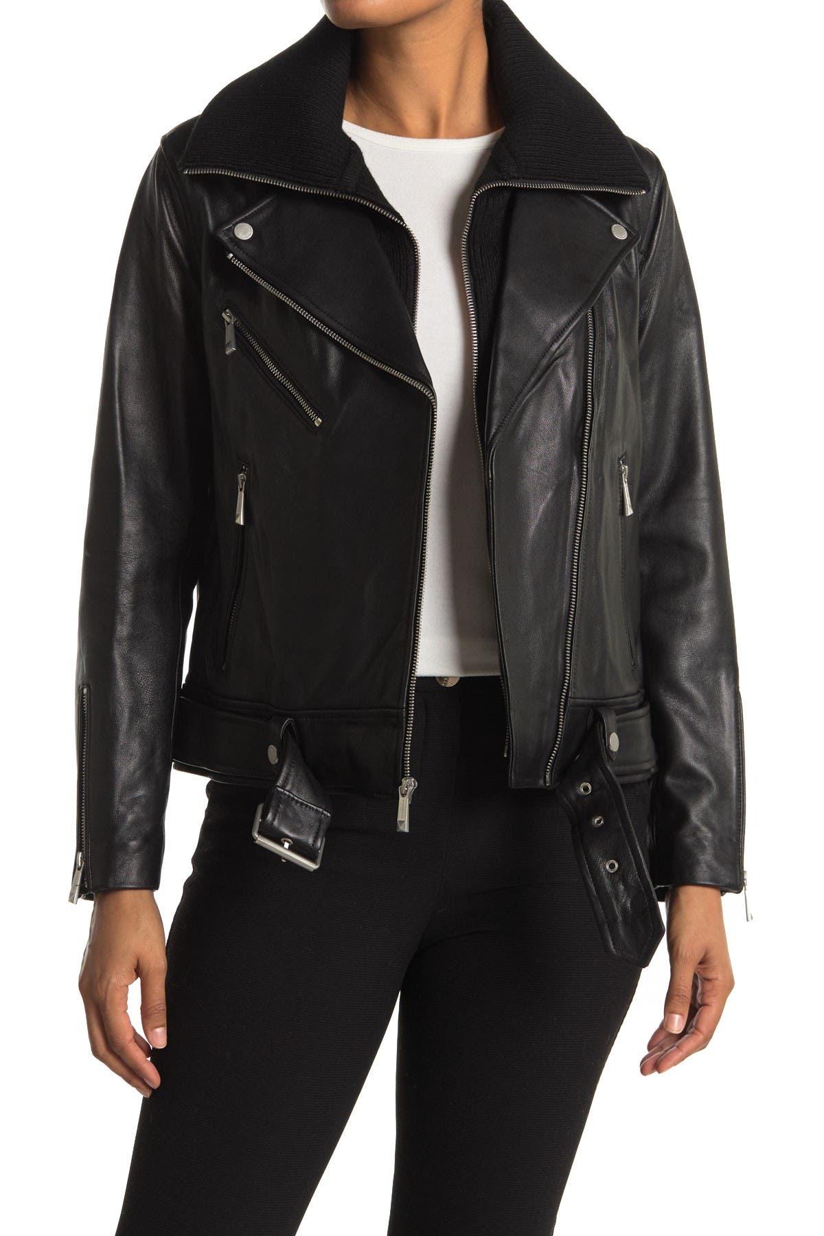 Image of BCBGMAXAZRIA Knit Trim Lamb Leather Jacket