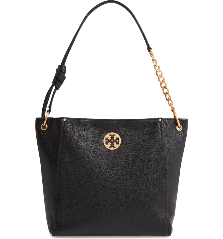 TORY BURCH Everly Leather Hobo, Main, color, BLACK