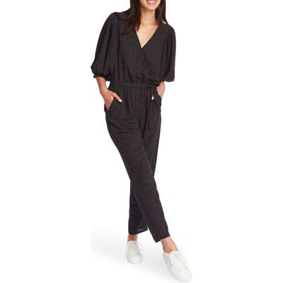 1.state Speckle Print Wrap Front Jumpsuit, Black