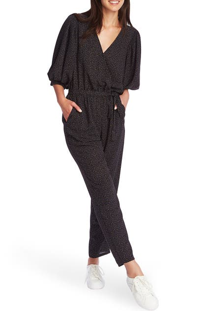 1.state Suits SPECKLE PRINT WRAP FRONT JUMPSUIT