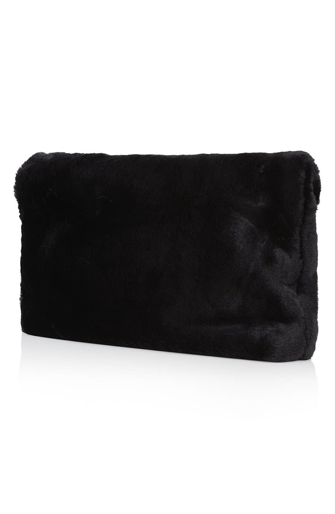 ,                             Faux Fur Clutch,                             Alternate thumbnail 4, color,                             001