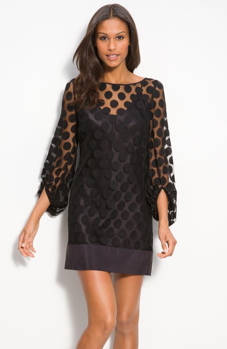 LAUNDRY BY SHELLI SEGAL Polka Dot Lace Shift Dress, Main, color, 001