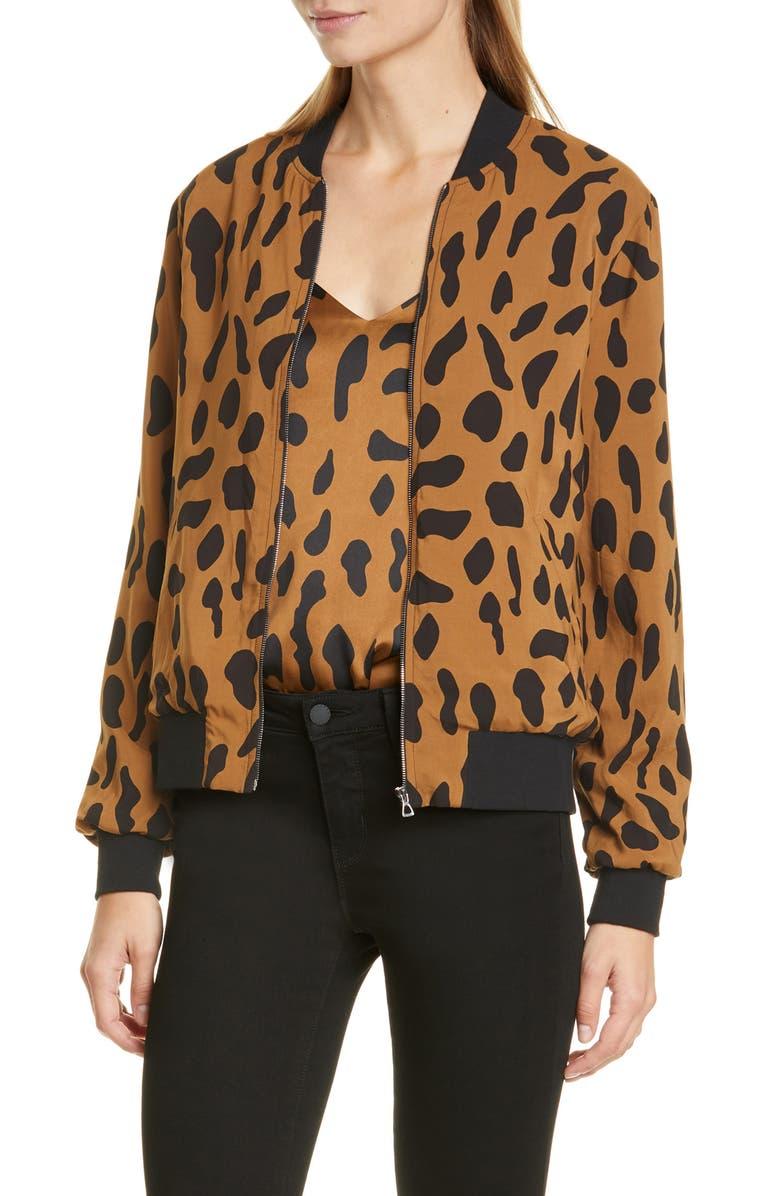 L'AGENCE Ollie Cheetah Print Silk Bomber Jacket, Main, color, 200